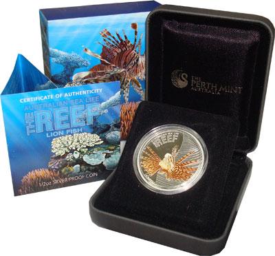 Изображение Подарочные монеты Австралия Рыба-лев 2009 Серебро Proof Подарочная монета по