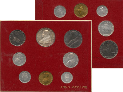 Изображение Подарочные монеты Ватикан Выпуск 1958 года 1958  UNC