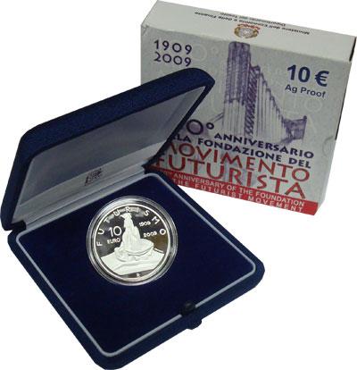 Изображение Подарочные монеты Италия 100-летие футуристического движения 2009 Серебро Proof