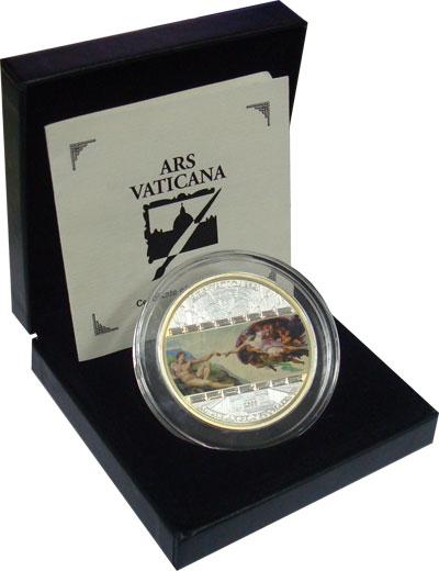 Изображение Подарочные наборы Острова Кука «Сотворение Адама» из серии «Шедевры мирового искусства» 2008 Серебро Proof- `Монета с изображени