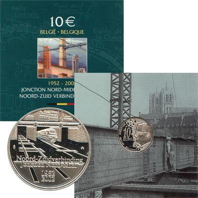 Изображение Монеты Бельгия 10 евро 2002 Серебро Proof Подарочная монета по