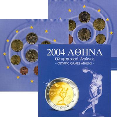 Изображение Подарочные монеты Греция Евронабор 2004 года 2004  UNC Евронабор 2004. Олим