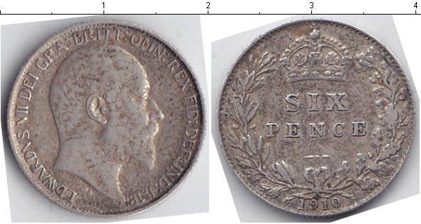 Картинка Монеты Великобритания 6 пенсов Серебро 1910