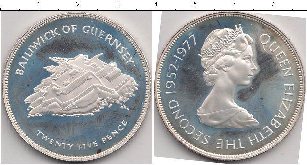 Картинка Монеты Гернси 25 пенсов Серебро 1977