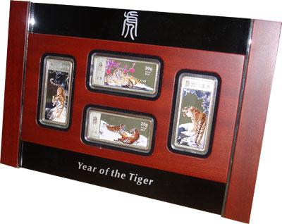 Изображение Подарочные монеты Либерия Год тигра 2010 Серебро Proof- Подарочный набор пос