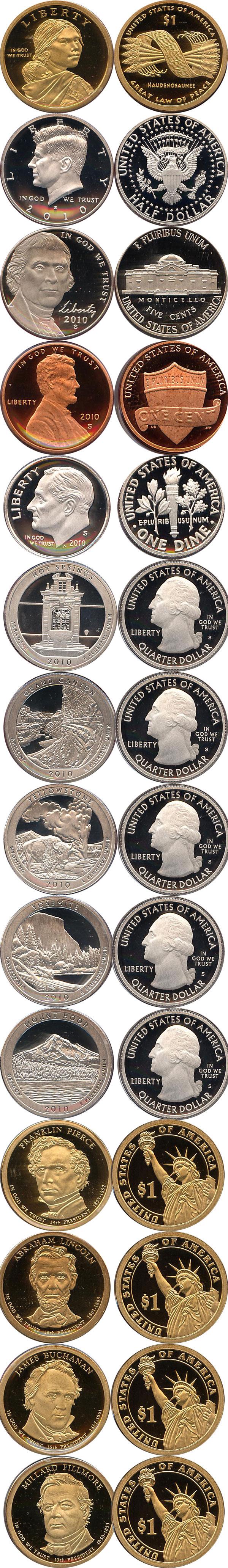 Картинка Подарочные монеты США Пруф-сет 2010 года  2010