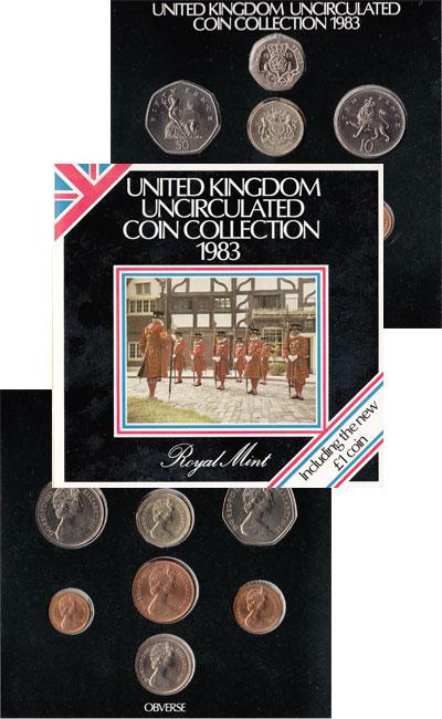 Изображение Подарочные монеты Великобритания Выпуск 1983 года 1983  UNC Подарочный набор 198