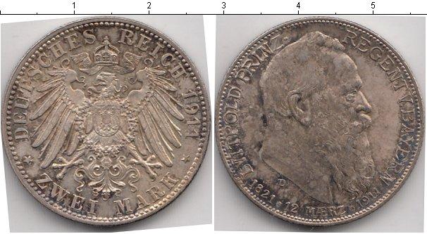 Картинка Монеты Бавария 2 марки Серебро 1911