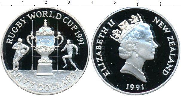 Картинка Монеты Новая Зеландия 5 долларов Серебро 1991