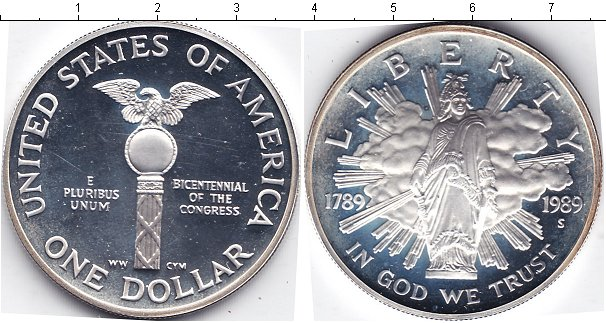 Купить монету сша 1 доллар серебро - 1989 год.