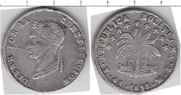 Картинка Монеты Боливия 4 соля Серебро 1855