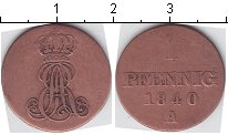 Изображение Монеты Ганновер 1 пфенниг 1840 Медь  A