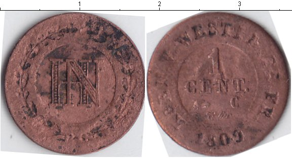 Картинка Монеты Вестфалия 1 сантим Медь 1809