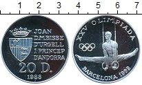 Изображение Монеты Андорра 20 динерс 1988 Серебро Proof- Олимпиада-1992 в Бар