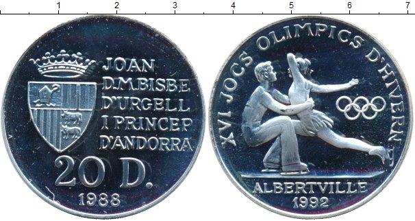 Картинка Монеты Андорра 20 динерс Серебро 1988