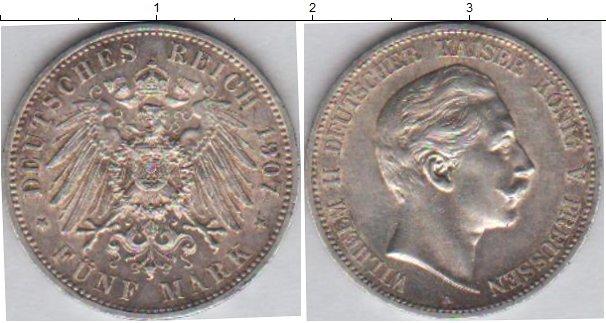 Картинка Монеты Пруссия 5 марок Серебро 1907
