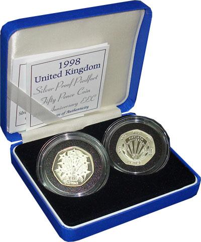 Изображение Подарочные наборы Великобритания 25-летие экономического сообщества 1998 Серебро  Пидфорт. Подарочный