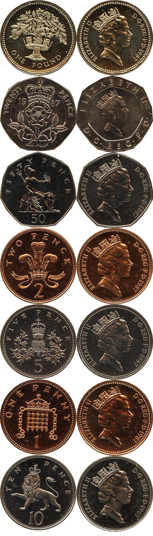 Набор монет Великобритания Набор 1987 года 1987 UNC фото 2