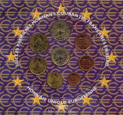 Изображение Подарочные монеты Франция Евронабор 2002 года 2002  UNC Евронабор 2002 года