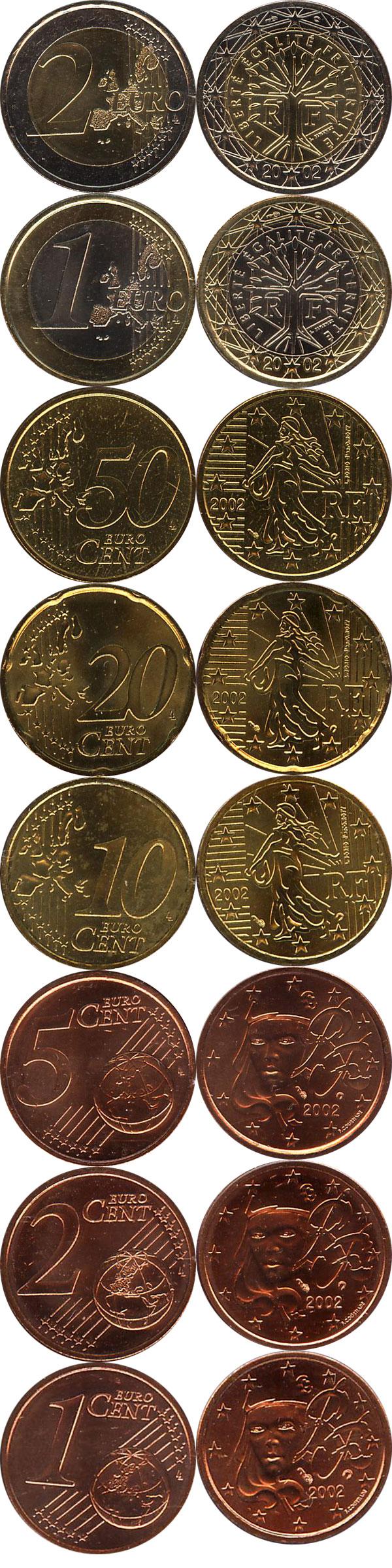 Картинка Подарочные монеты Франция Евронабор 2002 года  2002