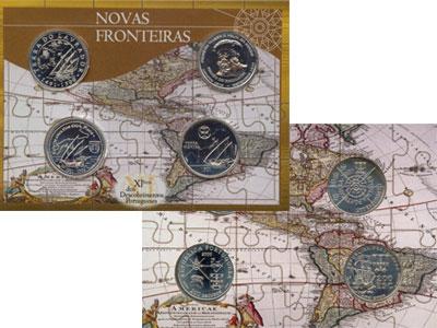 Изображение Подарочные монеты Португалия Карта плавания 2000 Серебро UNC Подарочный набор кар