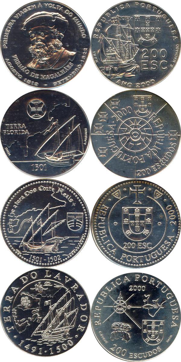 Картинка Подарочные монеты Португалия Карта плавания Серебро 2000