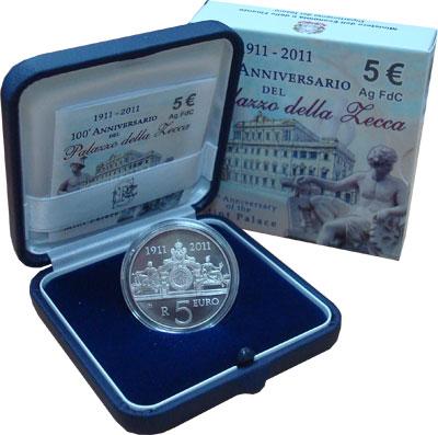 Изображение Подарочные монеты Италия 100-летие монетного двора 2011 Серебро UNC Подарочная монета по