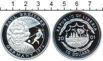 Изображение Монеты Либерия 10 долларов 2001 Серебро Proof- Чемпион мира 1974 иг