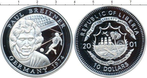Картинка Монеты Либерия 10 долларов Серебро 2001