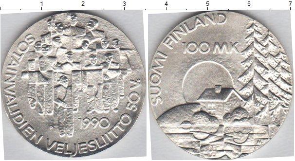 Картинка Монеты Финляндия 100 марок Серебро 1990