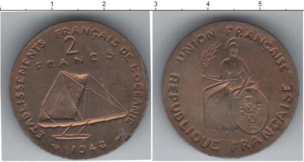 Картинка Монеты Океания 2 франка Медно-никель 1948