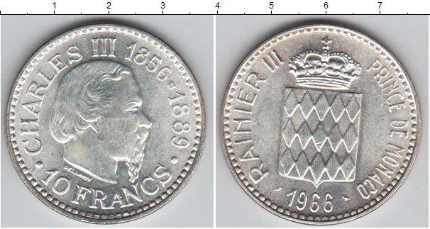 Картинка Монеты Монако 10 франков Серебро 1966