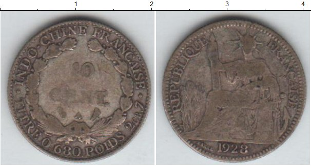 Картинка Монеты Индокитай 10 центов Серебро 1928