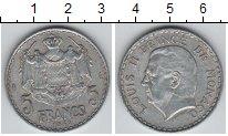 Изображение Мелочь Монако 5 франков 1945 Алюминий XF Князь Луи II