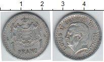 Изображение Монеты Монако 1 франк 1943 Алюминий XF Князь Луи II