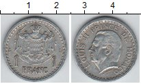 Изображение Монеты Монако 1 франк 1943 Алюминий XF Люис II