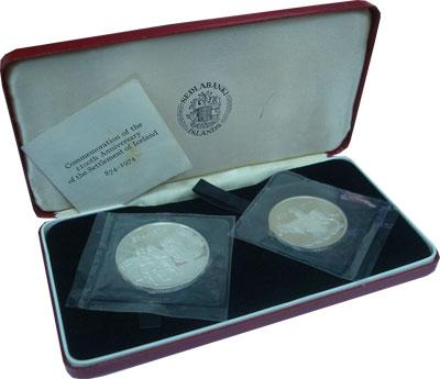 Изображение Подарочные монеты Исландия 1100-летие заселения Исландии 1974 Серебро Proof