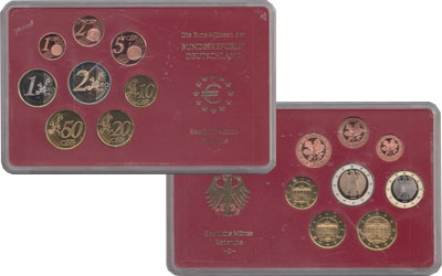 Изображение Подарочные монеты Германия Евронабор 2002, Чеканка Карлсруэ 2002  Proof Евронабор 2002 года,
