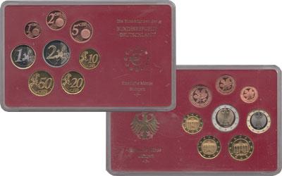 Изображение Подарочные монеты Германия Евронабор 2002, Чеканка Штуттгарт 2002  Proof Евронабор 2002 года,