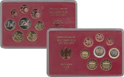 Изображение Подарочные монеты Германия Выпуск 2004 года, Чеканка Гамбурга 2004  Proof Евронабор 2004 года,