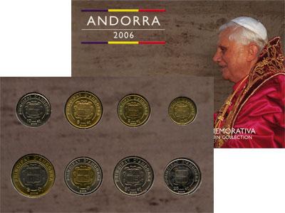 Изображение Подарочные монеты Андорра Бенедикт 16 2006   Подарочный набор пос