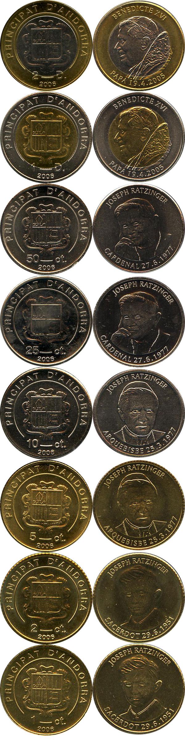 Картинка Подарочные монеты Андорра Бенедикт 16  2006