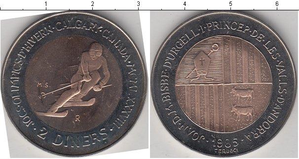Картинка Монеты Андорра 2 динера Биметалл 1985