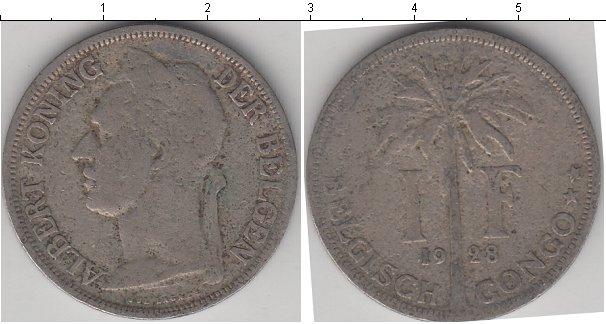 Картинка Монеты Бельгийское Конго 1 франк Медно-никель 1928