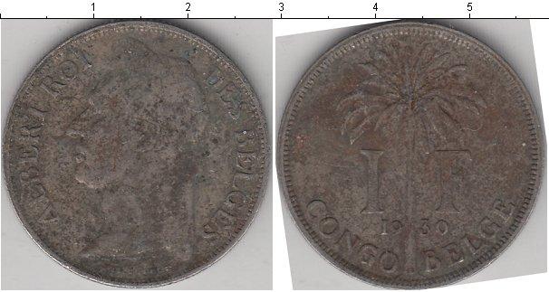 Картинка Монеты Бельгийское Конго 1 франк Медно-никель 1930