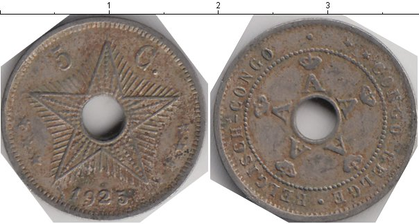 Картинка Монеты Бельгийское Конго 5 сантимов Медно-никель 1925
