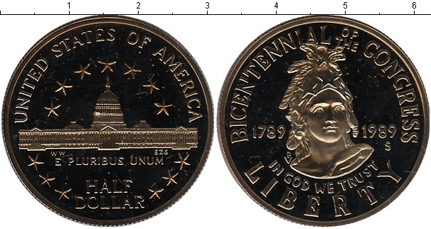 Картинка Мелочь США 1/2 доллара Медно-никель 1989
