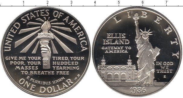 Картинка Мелочь США 1 доллар Серебро 1986