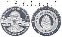 Изображение Мелочь Конго 10 франков 1999 Посеребрение Proof Генри Мортон Стэнли