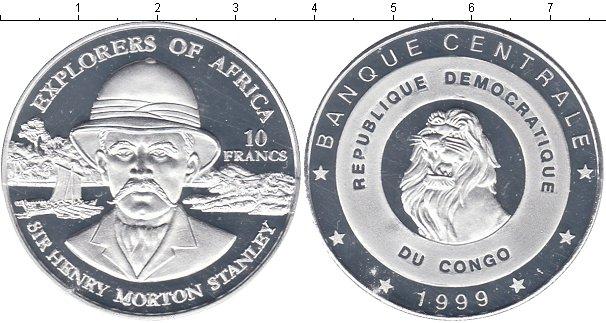 Картинка Мелочь Конго 10 франков Посеребрение 1999